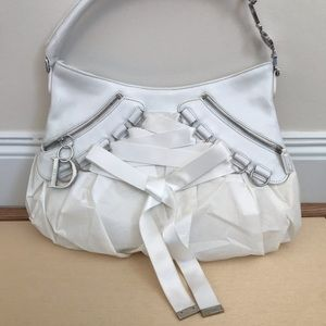 Dior laced ballet ballerina bag white and chrome